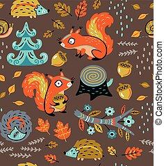 knippen, model, nootjes, seamless, bladeren, herfst, eekhoorns, bemanning