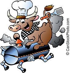 koe, kok, vat, paardrijden, bbq