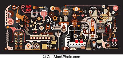 koffie, fabriek, illustratie, vector