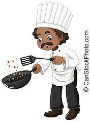 kok, het koken, spatel, koekenpan