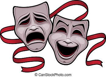 komedie, theater, tragedie vermommingen