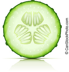 komkommer, knippen, segment, rijp