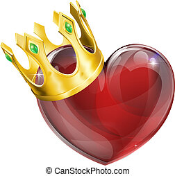 koning, concept, hartjes