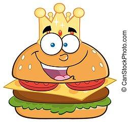 koning, hamburger, kroon, goud