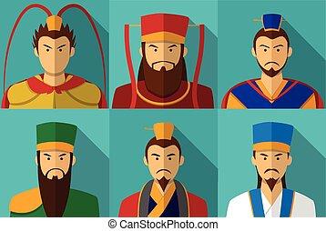 koninkrijk, plat, set, karakter, drie, verticaal