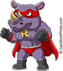 kostuum, serieuze , gezicht, superheroes, vervelend, neushoorn