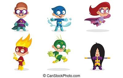 kostuums, kinderen, anders, illustration., vector, superheroes.