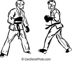 krijgshaftig, karate, sporten, kyokushinkai, kunsten