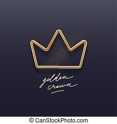 kroon, design., gouden, -, 3d, communie, vector, metaal, realistisch, illustration., versiering, donker, achtergrond.