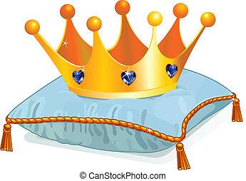 kroon, queen's, hoofdkussen