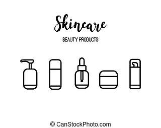 kunst, beauty, iconen, skincare, vector, producten, schoonheidsmiddelen, routine, lijn