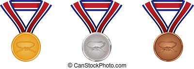 kunsten, goud, krijgshaftig, medailles, zilver, brons