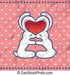 kussende , valentine, konijnen, kaart, ouderwetse