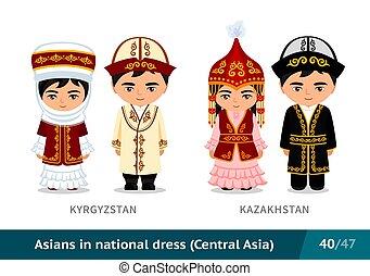 kyrgyzstan, ethnische , nationale, costume., set, kazakhstan., traditionele , dress., aziatische mensen, mannen, vervelend, vrouwen