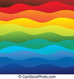 lagen, regenboog, kleurrijke, &, dit, vibrant, abstract, bevat, -, spectrum, illustratie, oceaanwater, kleuren, vector, glad, achtergrond, golven, (backdrop), graphic.