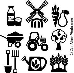 landbouw, set, landbouw, oogst, iconen