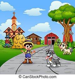 landbouwers, scène, werken, boerderij