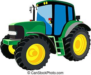 landbouwkundig, groene, tractor