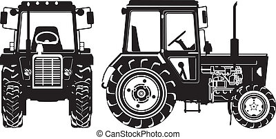 landbouwkundig, silhouettes, vector, tractor