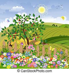 landelijk landschap, fruitbomen, omheining