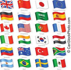 landen, bovenzijde, vector, wereldvlaggen, nationale