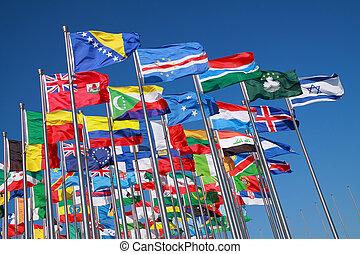landen, wereld, vlaggen, ongeveer