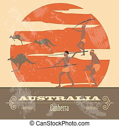 landmarks., gestyleerd, australië, retro