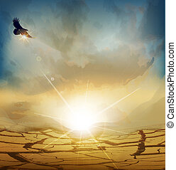 landscape, woestijn, opkomende zon