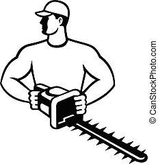 landscaper, voorkant, black , of, tuinman, retro, tremmer, schaar, heg, tuin, witte , aanzicht