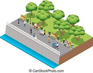 landscaping, isometric, samenstelling, mensen