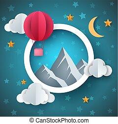 landschap., illustration., balloon, lucht, papier, spotprent
