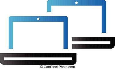 laptops, toon, duo, -, pictogram