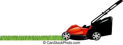 lawnmower, gras, groene