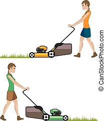 lawnmower, vrouw