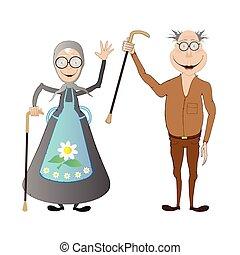leeftijd, oud, vrolijke