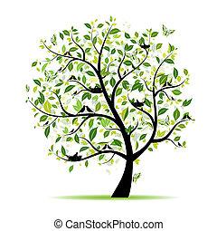 lente, boompje, jouw, groene, ontwerp, vogels
