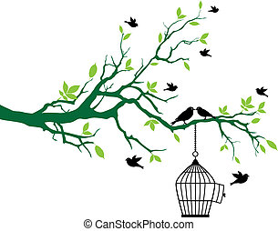 lente, boompje, vogels, birdcage