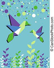 lente, paar, tijd, kolibrie, origami