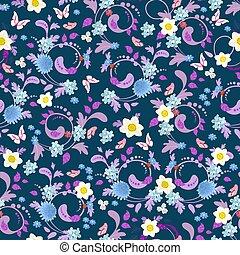lente, seamless, textuur, ontwerp, bevallig, bloemen, jouw