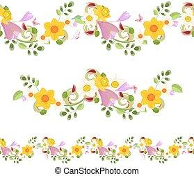 lente, seamless, verzameling, horizontaal, bloemen, randjes