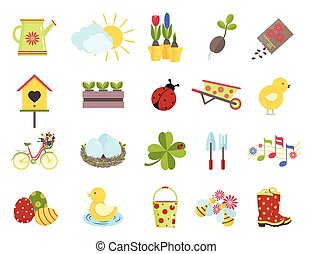 lente, stijl, set, icons., plat