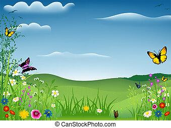 lente, vlinder, landscape