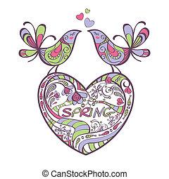lente, vogels, hart