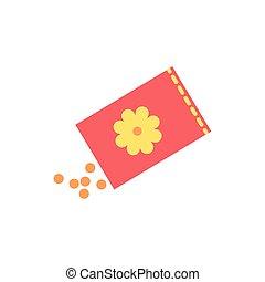 lente, zak, zaden, bloemen