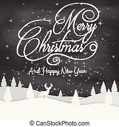 lettering, achtergrond, ontwerp, vrolijk, black , kerstmis