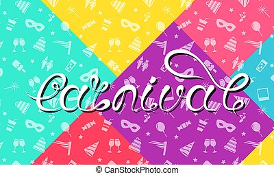 lettering, carnaval, kleurrijke, gekke , calligraphic, typografie, achtergrond, feestje, ontwerp, textuur