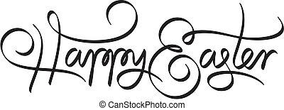 lettering, gelukkige pasen, hand