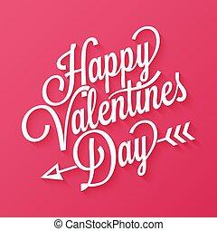 lettering, ouderwetse , valentines, achtergrond, dag, rood