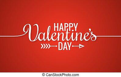 lettering, ouderwetse , valentines, achtergrond, lijn, dag