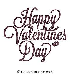 lettering, ouderwetse , valentines, achtergrond, witte , dag